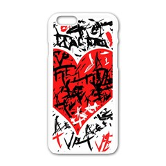 Red Hart   Graffiti Style Apple Iphone 6/6s White Enamel Case by Valentinaart