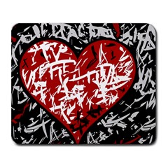 Red Graffiti Style Hart  Large Mousepads by Valentinaart