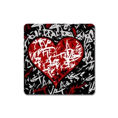 Red Graffiti Style Hart  Square Magnet by Valentinaart