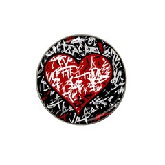 Red Graffiti Style Hart  Hat Clip Ball Marker (10 Pack) by Valentinaart