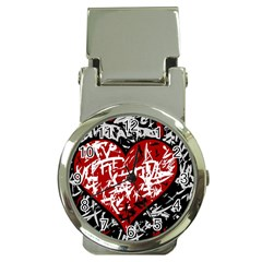 Red Graffiti Style Hart  Money Clip Watches by Valentinaart