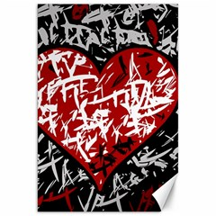 Red Graffiti Style Hart  Canvas 20  X 30   by Valentinaart