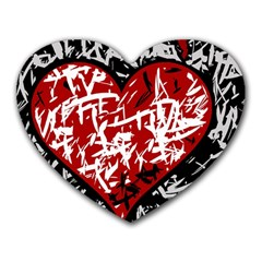 Red Graffiti Style Hart  Heart Mousepads by Valentinaart