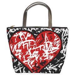 Red Graffiti Style Hart  Bucket Bags by Valentinaart