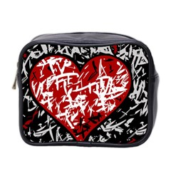 Red Graffiti Style Hart  Mini Toiletries Bag 2 Side