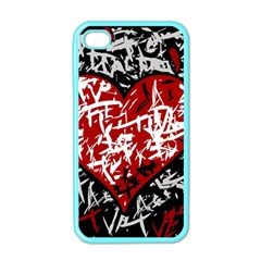 Red Graffiti Style Hart  Apple Iphone 4 Case (color) by Valentinaart