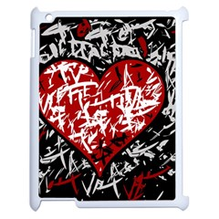 Red Graffiti Style Hart  Apple Ipad 2 Case (white) by Valentinaart
