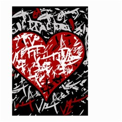 Red Graffiti Style Hart  Small Garden Flag (two Sides) by Valentinaart
