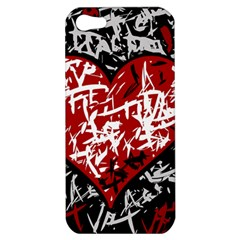 Red Graffiti Style Hart  Apple Iphone 5 Hardshell Case by Valentinaart