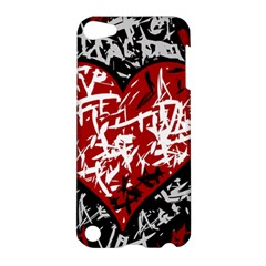 Red Graffiti Style Hart  Apple Ipod Touch 5 Hardshell Case by Valentinaart