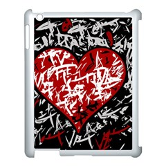 Red Graffiti Style Hart  Apple Ipad 3/4 Case (white) by Valentinaart