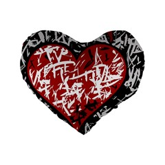 Red Graffiti Style Hart  Standard 16  Premium Heart Shape Cushions by Valentinaart