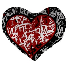Red Graffiti Style Hart  Large 19  Premium Heart Shape Cushions by Valentinaart