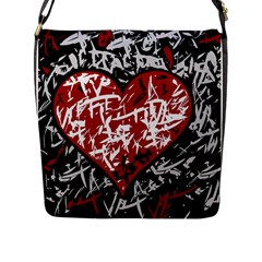 Red Graffiti Style Hart  Flap Messenger Bag (l)  by Valentinaart