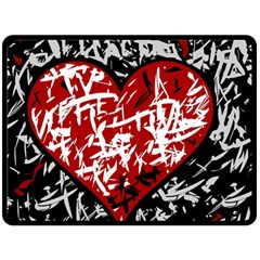 Red Graffiti Style Hart  Double Sided Fleece Blanket (large)  by Valentinaart