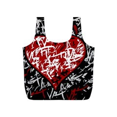 Red Graffiti Style Hart  Full Print Recycle Bags (s)  by Valentinaart