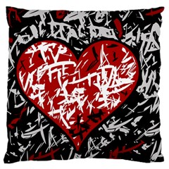 Red Graffiti Style Hart  Standard Flano Cushion Case (one Side) by Valentinaart