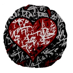 Red Graffiti Style Hart  Large 18  Premium Flano Round Cushions by Valentinaart