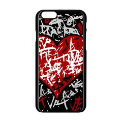 Red Graffiti Style Hart  Apple Iphone 6/6s Black Enamel Case by Valentinaart