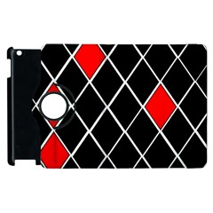 Elegant Black And White Red Diamonds Pattern Apple Ipad 2 Flip 360 Case by yoursparklingshop