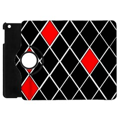 Elegant Black And White Red Diamonds Pattern Apple Ipad Mini Flip 360 Case by yoursparklingshop