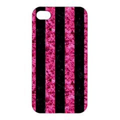 Stripes1 Black Marble & Pink Marble Apple Iphone 4/4s Premium Hardshell Case by trendistuff