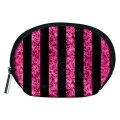 Stripes1 Black Marble & Pink Marble Accessory Pouch (medium) by trendistuff