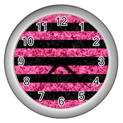 Stripes2 Black Marble & Pink Marble Wall Clock (silver) by trendistuff
