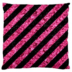 Stripes3 Black Marble & Pink Marble Large Cushion Case (two Sides) by trendistuff