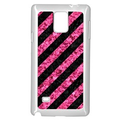 Stripes3 Black Marble & Pink Marble Samsung Galaxy Note 4 Case (white) by trendistuff