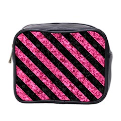 Stripes3 Black Marble & Pink Marble (r) Mini Toiletries Bag (two Sides) by trendistuff