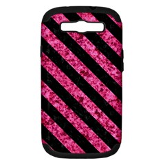 Stripes3 Black Marble & Pink Marble (r) Samsung Galaxy S Iii Hardshell Case (pc+silicone) by trendistuff