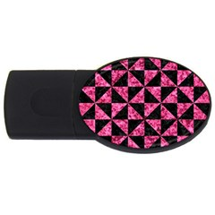 Triangle1 Black Marble & Pink Marble Usb Flash Drive Oval (2 Gb) by trendistuff
