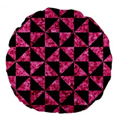 Triangle1 Black Marble & Pink Marble Large 18  Premium Round Cushion  by trendistuff