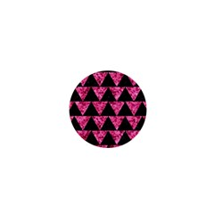 Triangle2 Black Marble & Pink Marble 1  Mini Button by trendistuff