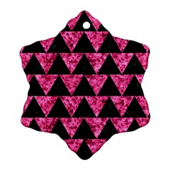 Triangle2 Black Marble & Pink Marble Snowflake Ornament (two Sides) by trendistuff