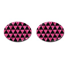 Triangle3 Black Marble & Pink Marble Cufflinks (oval) by trendistuff