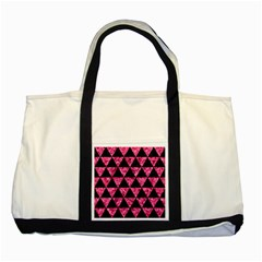 Triangle3 Black Marble & Pink Marble Two Tone Tote Bag by trendistuff