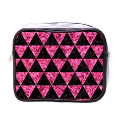 Triangle3 Black Marble & Pink Marble Mini Toiletries Bag (one Side) by trendistuff