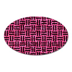 Woven1 Black Marble & Pink Marble (r) Magnet (oval) by trendistuff