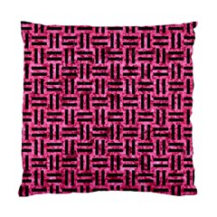 Woven1 Black Marble & Pink Marble (r) Standard Cushion Case (two Sides) by trendistuff