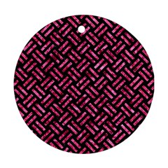 Woven2 Black Marble & Pink Marble Round Ornament (two Sides) by trendistuff