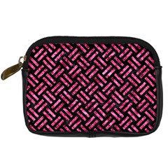 Woven2 Black Marble & Pink Marble Digital Camera Leather Case by trendistuff