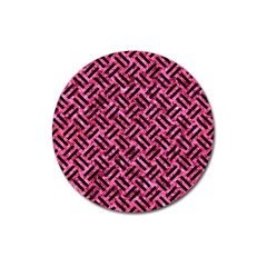 Woven2 Black Marble & Pink Marble (r) Magnet 3  (round) by trendistuff