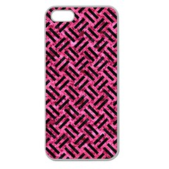 Woven2 Black Marble & Pink Marble (r) Apple Seamless Iphone 5 Case (clear) by trendistuff