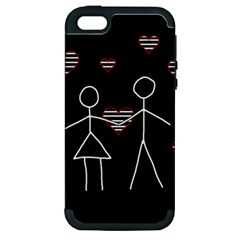 Couple In Love Apple Iphone 5 Hardshell Case (pc+silicone) by Valentinaart
