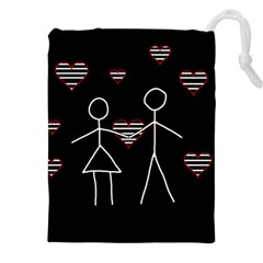 Couple In Love Drawstring Pouches (xxl) by Valentinaart