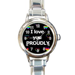 Proudly Love Round Italian Charm Watch by Valentinaart