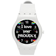 Proudly Love Round Plastic Sport Watch (m) by Valentinaart