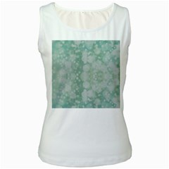 Light Circles, Mint Green Color Women s White Tank Top by picsaspassion